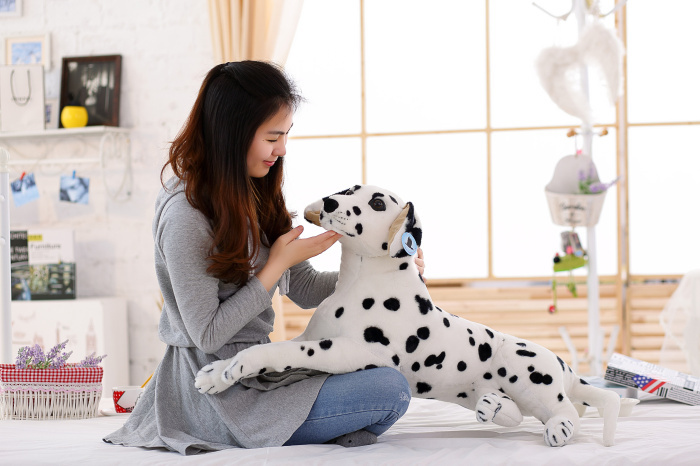 new big lovely simulaiton spots dog toy plush large lying spot dog doll gift about 85cm new plush gray akita dog toy lovely cute fat sitting akita dog doll gift about 45cm