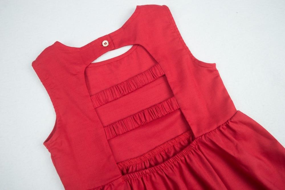 Cielarko Vestido sin espalda de verano para niñas Rojo Sólido - Ropa de ninos - foto 4