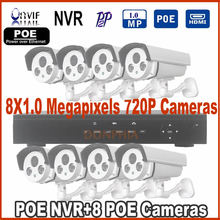 Promotion! 8ch POE NVR KIT 720p 1.0MP Out of doors Waterproof Infrared P2P Onvif Community CCTV Digicam CCTV System Video Surveillance