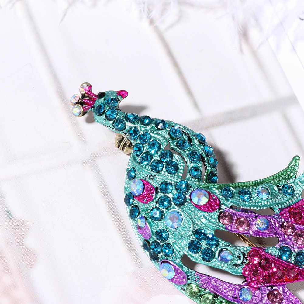 1 PCS Beruntung Biru Hijau Merak Bros Perak Hewan Burung Pin Vintage Alloy Colorful Crystal Berlian Imitasi Wanita Hadiah Wanita Perhiasan
