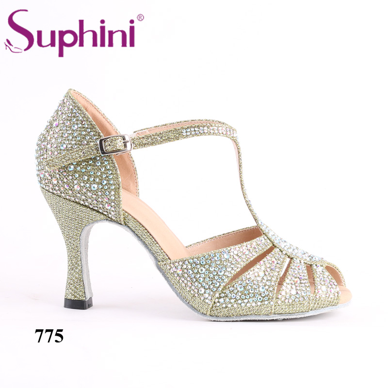 Green Glitter Latin Dancing Shoes Women s Professional Salsa Ballroom  Dancing Shoes 8CM Height Heel Free Shipping-in Dance shoes from Sports    Entertainment ... 98d8c147c1ea
