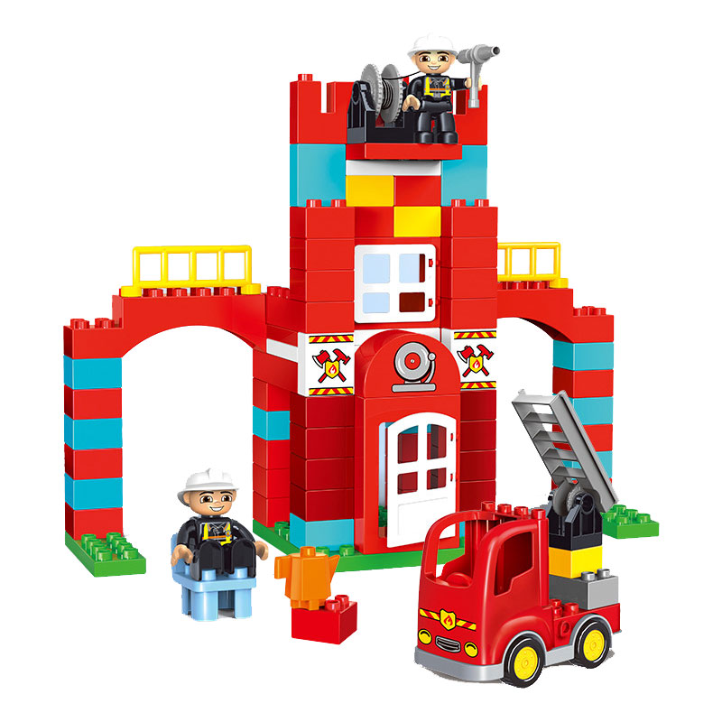 GETLUCK 1009 Big Blocks City Fire Department Firemen Building Blocks Det Kids DIY Bricks Toys Compatible Duploe For Baby Gifts-in Blocks from Toys & Hobbies    3