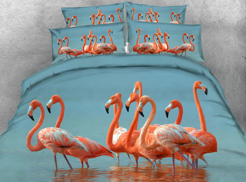 JF 172 HD 3D flamingo print parure de lit adulte double king size