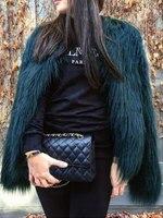 Women Faux Fur Coat Long Sleeve Solid Color Fluffy Coat