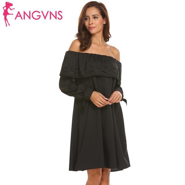 c8e424a03f37 None Loose Off Shoulder Ruffle Long Sleeve Casual Women Dress-in ...