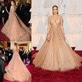 Real Fotos Impresionantes 2016 V Cuello Jennifer Lopez Celebrity Vestidos de Noche Exquisitos Encajes Y Abalorios Vestido de Oscar de la Alfombra Roja