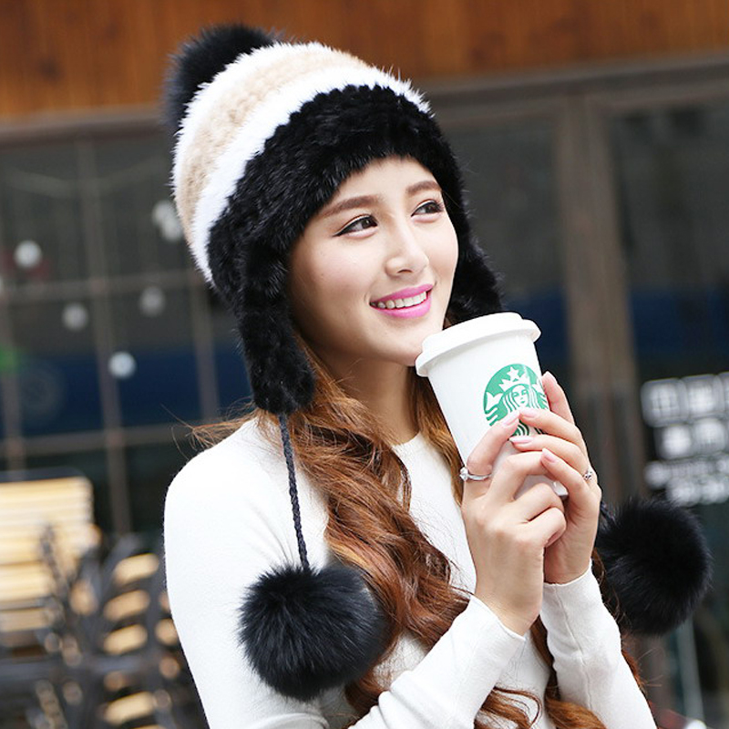 2017 Special Offer Solid New Arrival Winter Fur Caps Genuine Mink Women Knitted Ear Hat With Fox Ball Pom Poms Female Hats