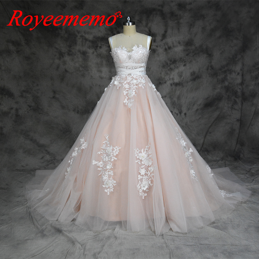 2019 hot sale special lace design Wedding Dress pink and ivory color Bridal gown shoulder straps