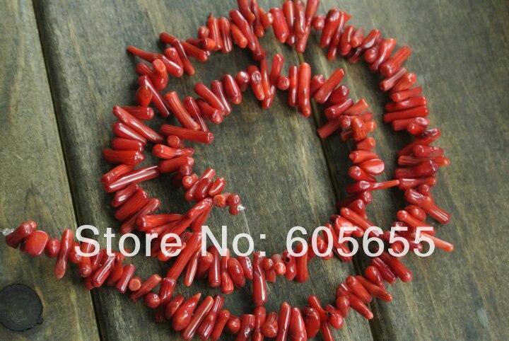 Красные веточки кораллов бусины 9~ 11 мм длина морской бамбук свободные бусины 10 нитей в партии