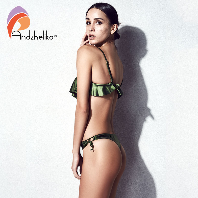 Image 2 - Anadzhelia Bikini Women Push Up Swimsuit Sexy Lotus leaf Brazilian Bikini Set Three Piece Swimwear Beach Bathing Suit BiquiniBikini Set   -