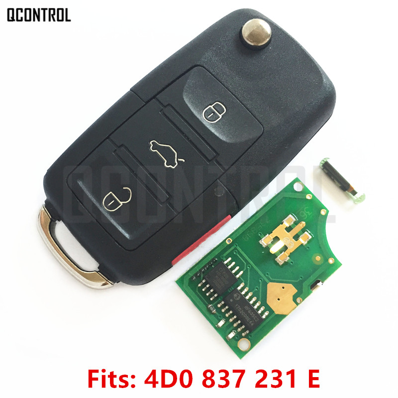QCONTROL Car Remote Key DIY for AUDI A4 S4 A6 A8 TT Allroad Cabriolet 4D0837231E 1997 1998 1999 2000 2001 2002 2003 2004 2005