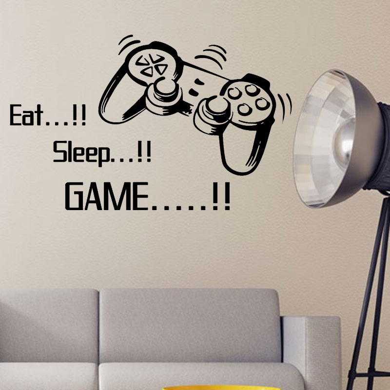 promotion Eat Sleep Game vinyl wall art stickers gamer xbox ps3 Boys Bedroom Letter Quotes Home Decoration Wall Mural