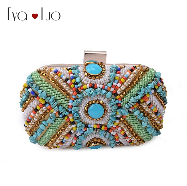 Jzx20 Dhl Free Shipping Turquoise Beads Stones Beading Evening Bags Clutch Bag Women Clutches Lady Wedding