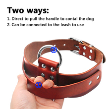LDCO002 Leather Dog Training Collar For Pitbull and Large Dogs With Quick Control Handle