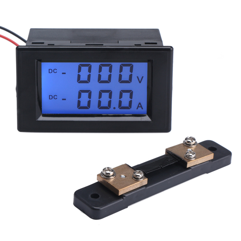 2in1 Volt Amp Gauge DC 110V/220V 0~600V/50A Voltage Current Meter DC 12V 24V Digital Voltmeter Ammeter + Shunt Resistor dc 100a analog ammeter panel amp current meter 85c1 gauge 0 100a dc shunt