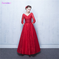 Vintage Evening Dresses wiht Half Sleeves High Quality Lace And Tulle Corset Lace Up Back V Neck Red Long Evening Dresses