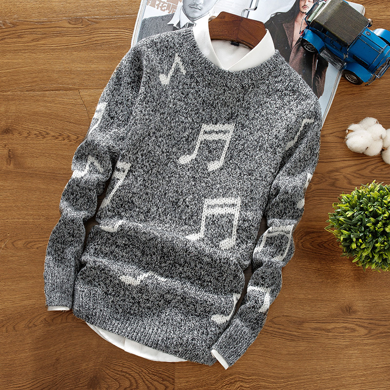 In The Fall And Winter Of 2019 Men's Fashion Knitwear Fashion Notes Round Neck Sweaters