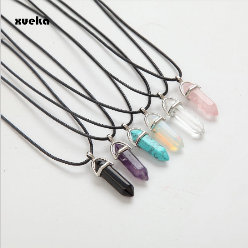 2017 Hexagonal Column Necklaces Natural Crystal Pendants Pink Stone Pendant Leather Chains Necklace For Women Fashion Jewelry