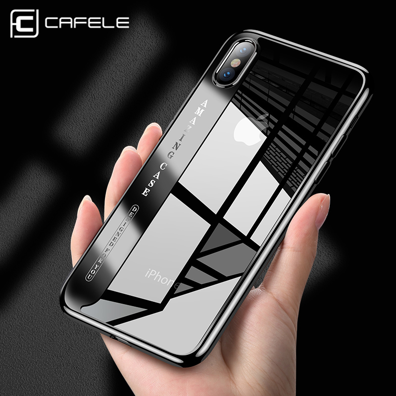 CAFELE original transparent Case For iphone X 8 7 6s plus Glitter Series Plating Hard PC Plastic Cover for iPhone X 8 7 6s shell