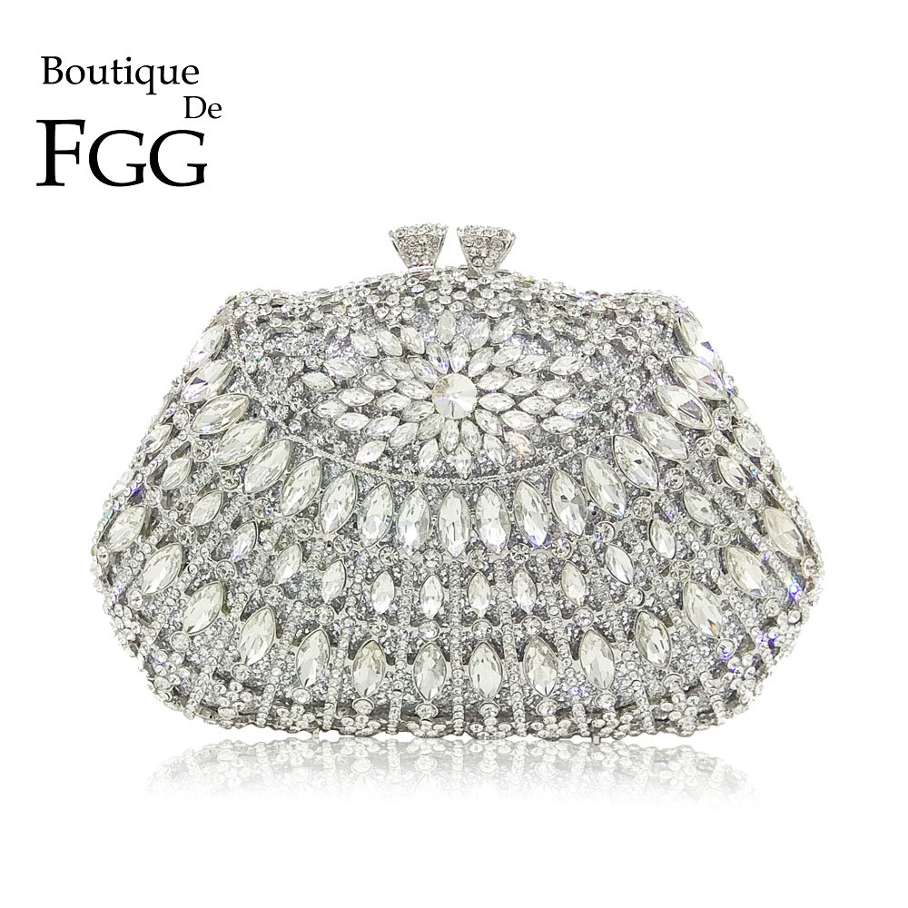 Boutique De FGG Elegant Hollow Out Dazzling Silver Crystal Women Evening Purse Bag Wedding Party Cocktail Bridal Clutch HandbagBoutique De FGG Elegant Hollow Out Dazzling Silver Crystal Women Evening Purse Bag Wedding Party Cocktail Bridal Clutch Handbag