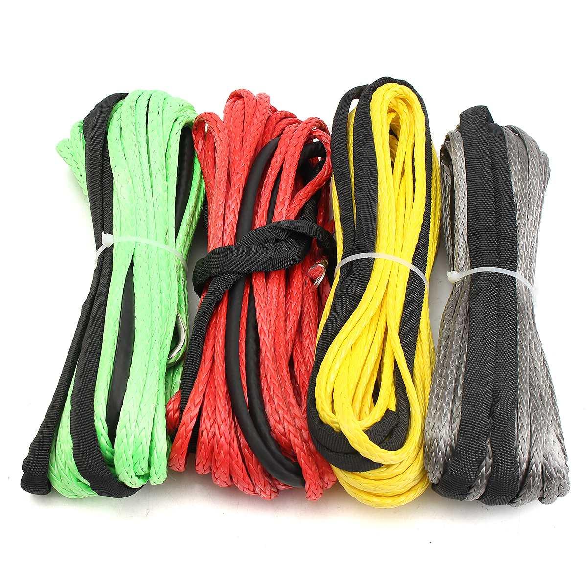 Лучшая цена 3/16 х 50 Синтетический Волокно лебедки кабельной линии веревка 5500 LBS + оболочка для ATV UTV 5.5 мм * 15 м химическое ...