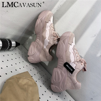 LMCAVASUN 2019 New Spring Leather Suede Platform Sneakers Women Dad Shoes Casual Flat Women Shoes Woman