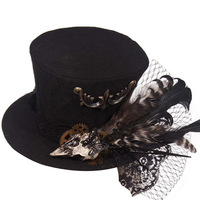 Black Vintage Gold Gearwheel Floral Butterfly Skull Feathers Halloween Party Anime Cosplay Gothic Hat Steampunk Hats For Women