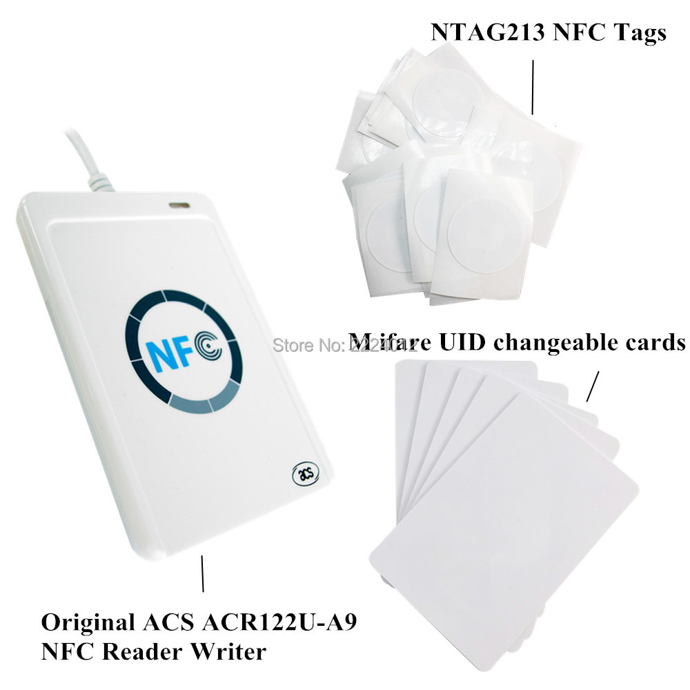 ACR122u Nfc Reader Writer USB Interface + 5pcs NTAG213 Nfc Tag + 5pcs M Ifare UID Changeable 1k Cards + Free SDK