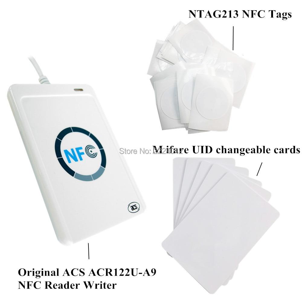 ACR122u nfc reader writer USB interface + 5pcs NTAG213 tag m ifare UID changeable 1k cards free SDK