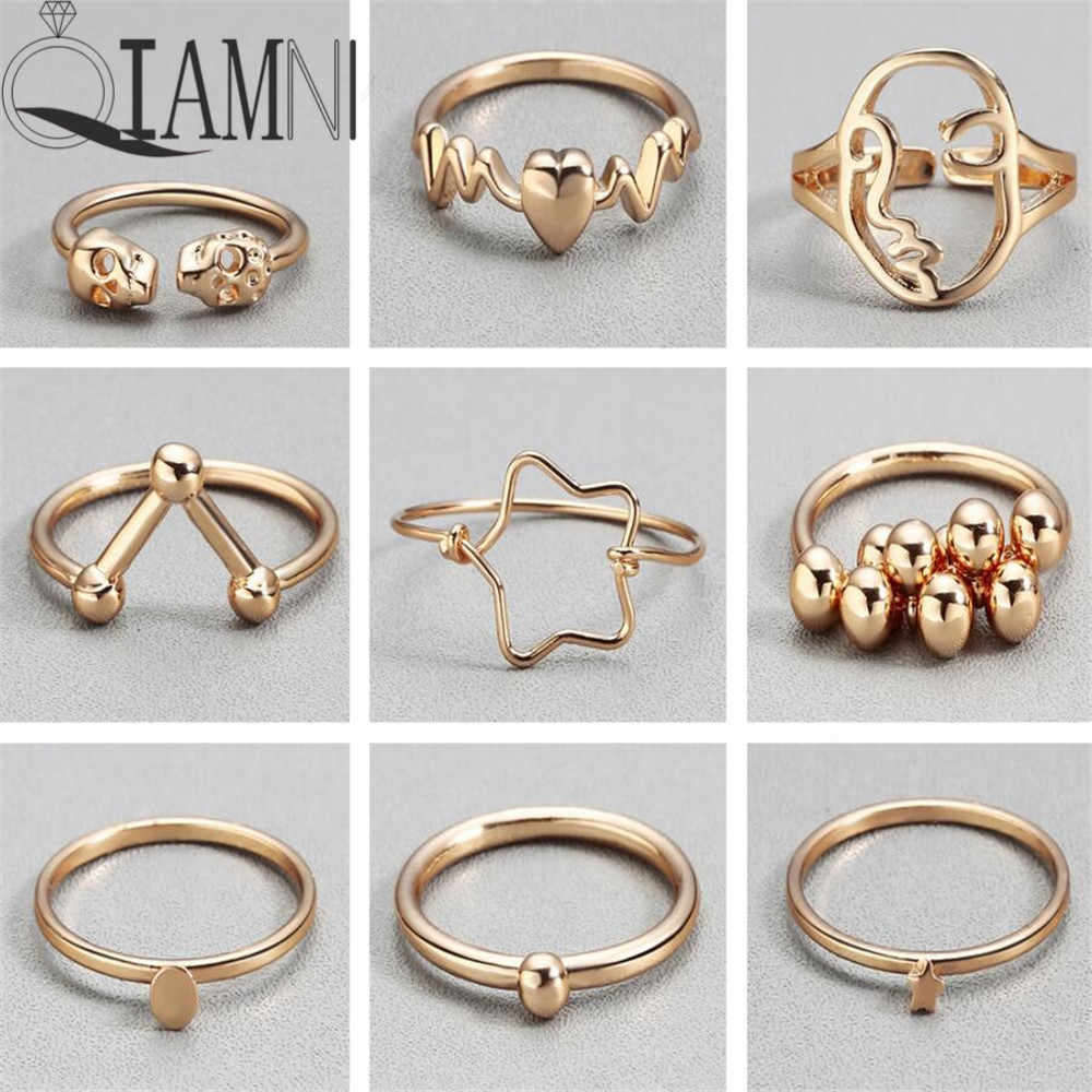 QIAMNI Women's Gold Color Heart Skull Star Ball Stackable Finger Ring Cocktail Geometric Toe Foot Ring Party Jewelry Bague Femme