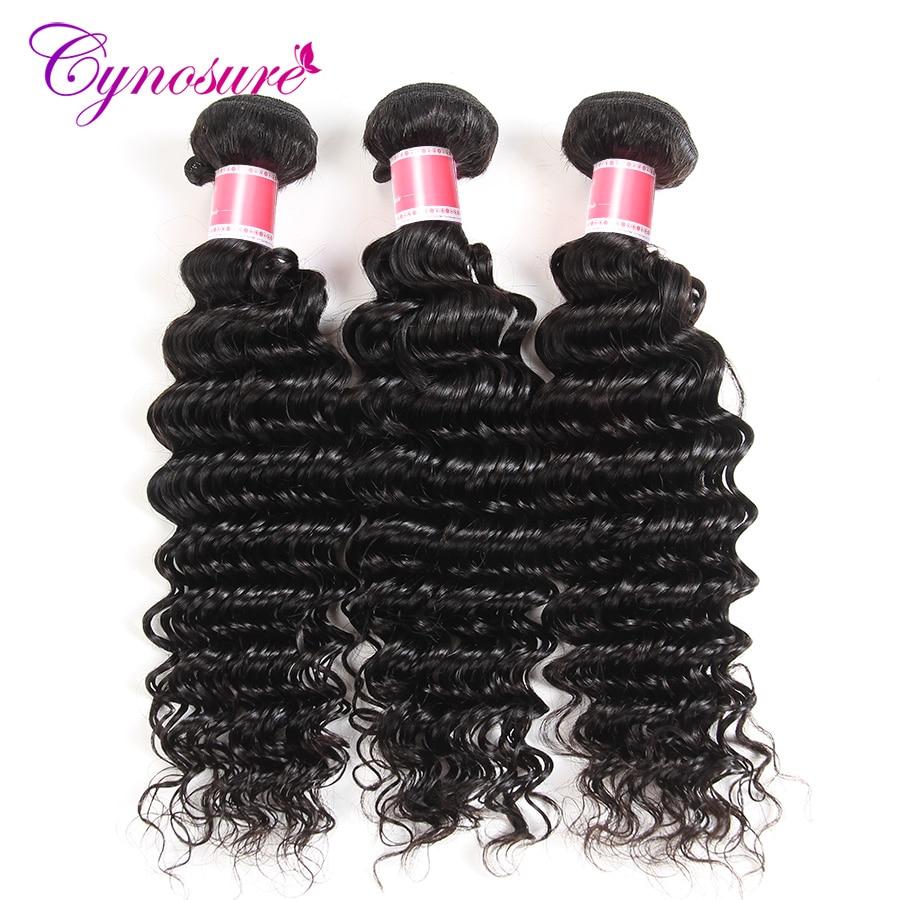 Cynosure Deep Wave Brazilian Hair Weave Bundles 10-28 inch Human Hair 3 Bundles Non-remy Hair Extensions