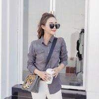 2018 Spring Casual Women Shirts Jeans Rivets Blouse Shirt Gray 5713
