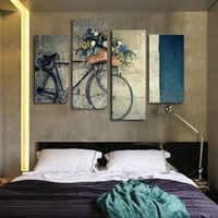 4 Pieces Canvas Painting Antique Home Decor Print Retro Bike Canvas Oil Painting Wall The Living