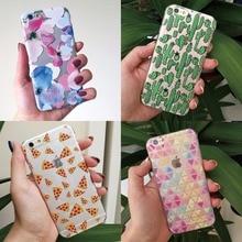 Cute Soft TPU Case Cover Coque Fundas for iPhone 5 5s 5C SE 6 6s 6plus 7Plus 7 Samsung Floral Pizza Strawberry Cactus palm tree