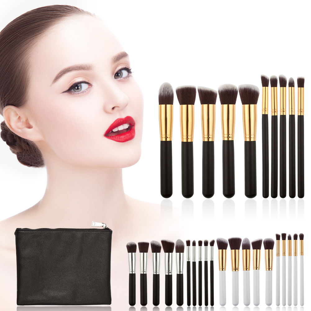 10Pcs/Set Professional Brushes Tool Powder Foundation Brush Eyeshadow Brush Cosmetic Tool With Black PU Makeup Bag Case GUB# beauty golden black professional 4 pcs set salon party home use eyeshadow makeup brush cosmetic tool brushes with case