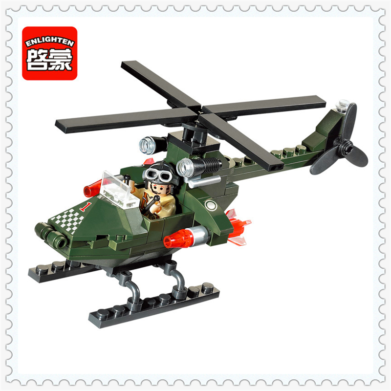 ENLIGHTEN 806 Military Series Helicopter Chase Model Building Block 119Pcs Educational  Toys For Children Compatible Legoe decool 3345 technic city series mini container truck 119pcs building block educational toys for children compatible legoe