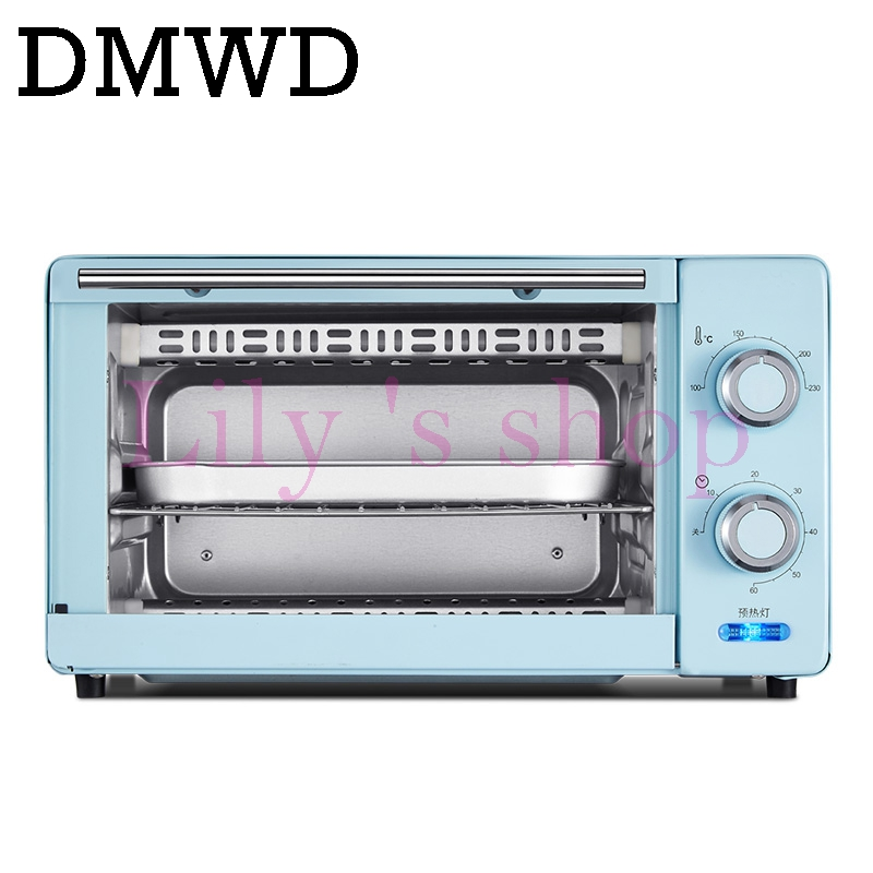 DMWD Mini household Oven Multifunctional Pizza cake Baking Oven with 60 Minutes Timer Stainless Steel Toaster 2 layers 11L 220V kitchen appliances household baking mini oven 12l stainless steel housing glass electric oven cake toaster