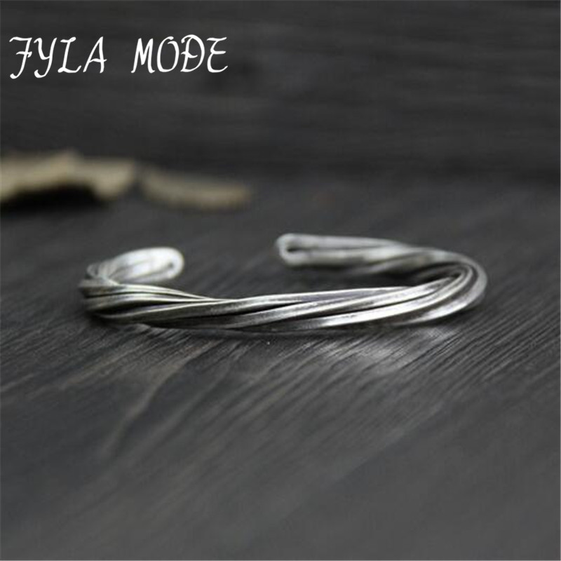 Fyla Mode Women Men 999 Sterling Silver Twisted Bangle Handmade Vintage Thai Silver Open Bangle Jewelry WT028