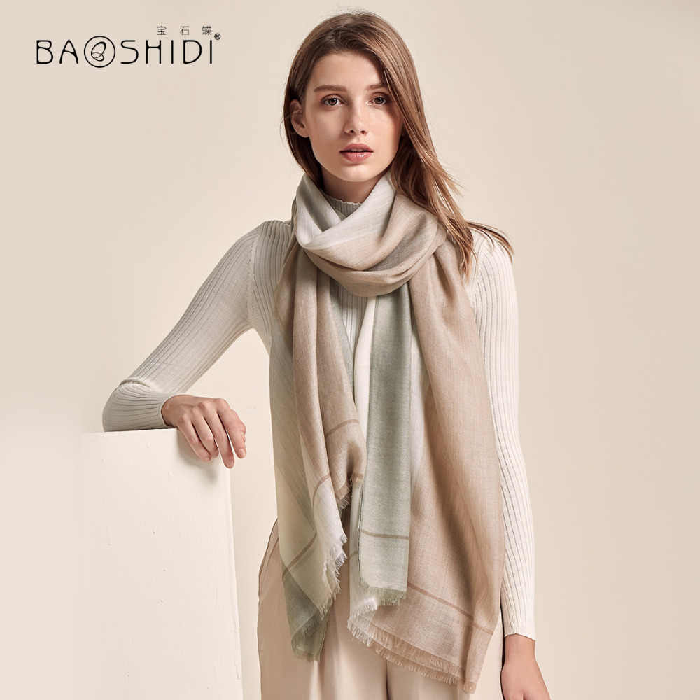 317fc4abb [BAOSHIDI]2018 winter 100% cashmere Scarf women,Plaid Pattern lady elegant  shawl