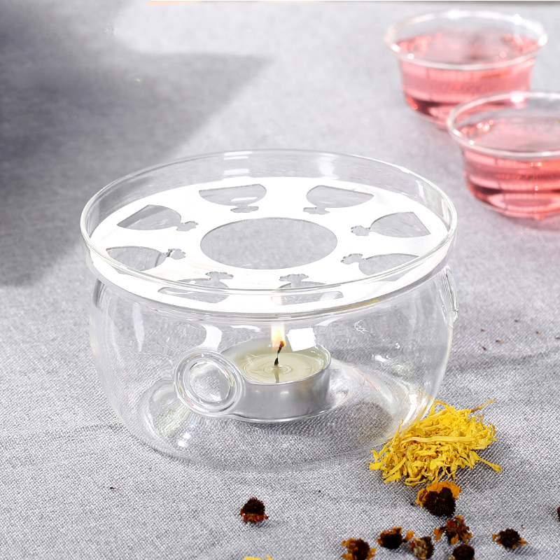 가열 기본 커피 물 차 촛불 투명 유리 내열성 주전자 따뜻한 절연베이스 캔들 홀더 차 액세서리