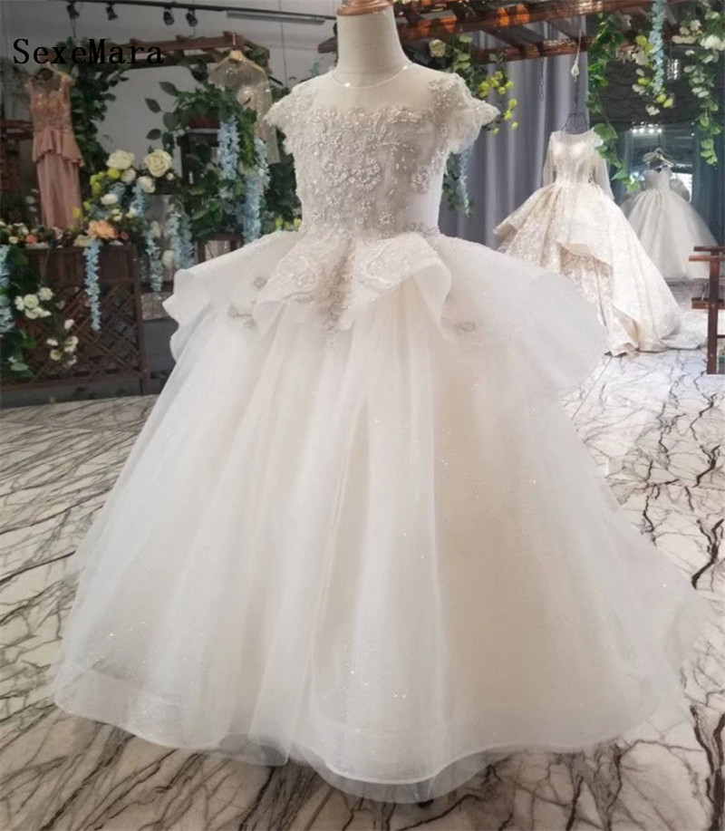 Ivory Puffy Tulle Flower Girls Pageant Dresses For Wedding Party Little Kids First Communion Dress Ball Gowns For Girls
