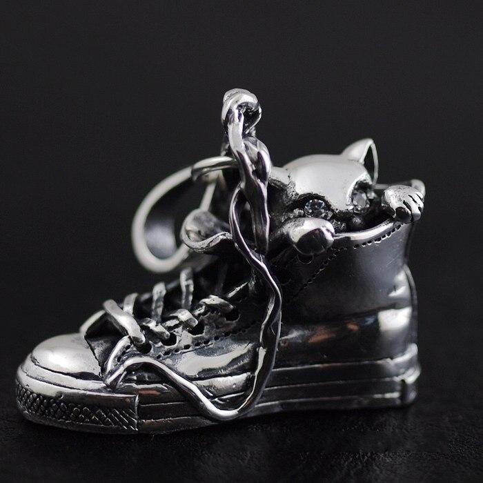 Парусиновая обувь из стерлингового серебра с подвесками в виде кота