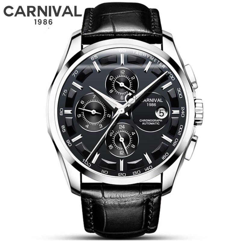 Black Leather Men Fashion Automatic Mechanical Watch CARNIVAL Waterproof Luminous Auto Date Watches Men Sport Sapphire Clock