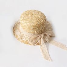 2019 лето ВС шляпы новый женщин Повседневная бантом ленты кружева Соломенная козырек крышки для праздника и море девушки пляж крышка