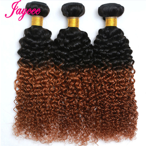 Brazilian Hair Weave Bundles Ombre Curly Tissage Bresilien 1B 30 Two Tone Human Hair Weaves Bundles 3 Pcs Remy Brazillian Hair(China)