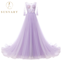 Sunvary A Line Sapu Merak Wedding Dress 3/4 Lengan Manik-manik Purple Bridal Dresses Illusion Lace Penuh Tulle Rok Pernikahan