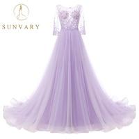 Sunvary A Line Sweep Peacock Wedding Dress 3/4 Sleeve Beading Màu Tím Cô Dâu Dresses Illusion Ren Đầy Đủ Vải Tuyn Váy Hôn Nhân