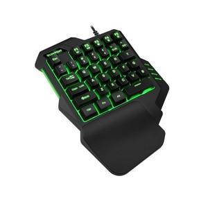 Image 2 - Mobile phone Gaming keyboard macro recording keys 35keys Mini usb Single hand 6400DPI wired Mouse Combos 7colors Backlight