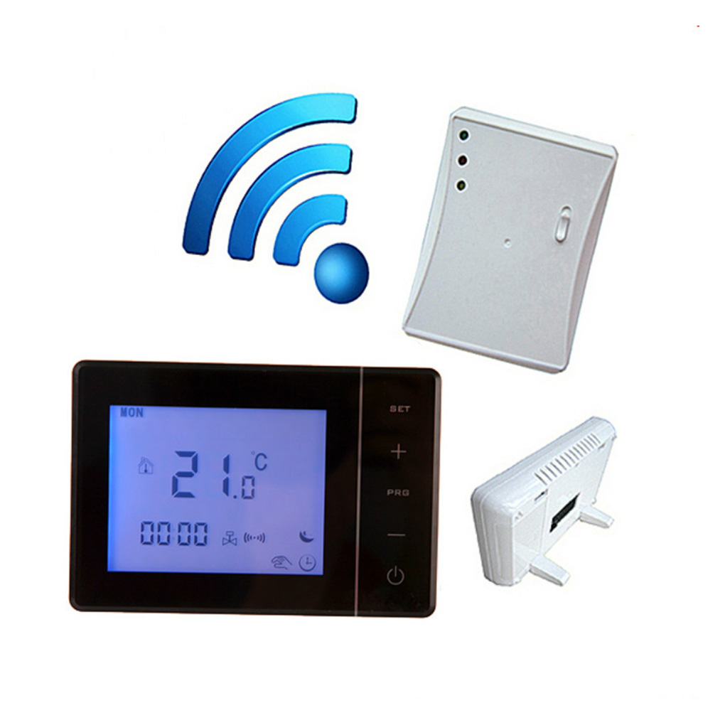Hot 433MHZ Wireless Gas Boiler Thermostat RF Control 5A Wall hung Boiler Heating Thermostat Digital LCD