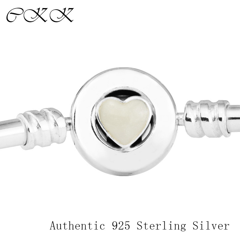 100% 925 Sterling Silver Loving Heart Bangle Bracelets with Silver Enamel Clasp Fit Charm Beads DIY for Women PFB044100% 925 Sterling Silver Loving Heart Bangle Bracelets with Silver Enamel Clasp Fit Charm Beads DIY for Women PFB044
